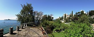 Isola del Garda - The villa and gardens viewed from the eastern end of the island.