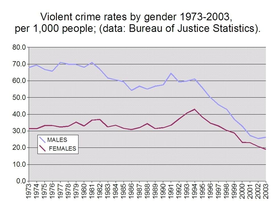 Violent crime rates by gender 1973-2003