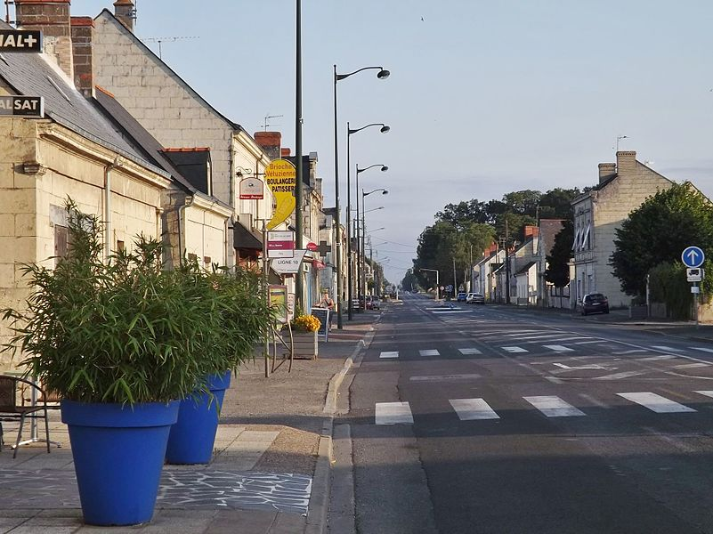 Sight of the main street of Vivy village in Maine-et-Loire, France.