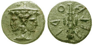Etruscan coins - Janiform head wearing pointed petasos