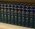 Volumes of the 'The Dictionary of Art' shelved.JPG