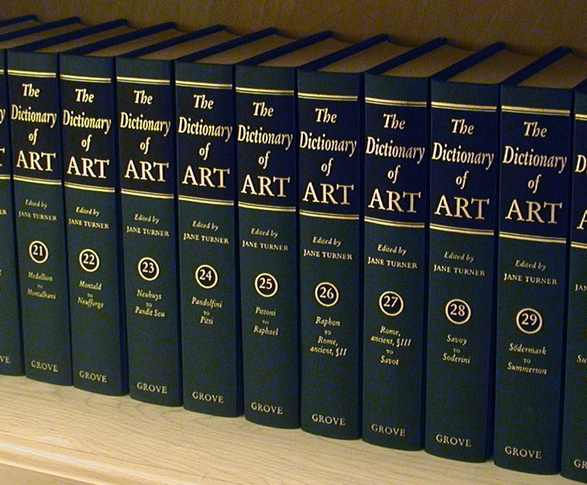 Volumes of the %27The Dictionary of Art%27 shelved