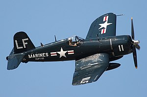 Vought F4U Corsair - A restored F4U-4 Corsair in Korean War-era U.S. Marine Corps markings