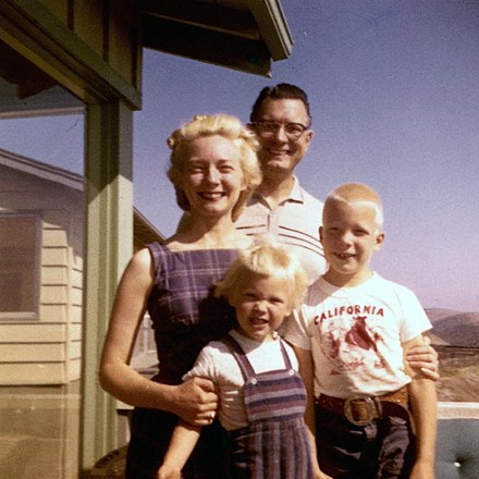 An American nuclear family composed of the mother, father, and their children circa 1955 W.H. Shumard family, circa 1955.jpg