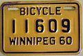 WINNIPEG MANITOBA 1960 -BICYCLE PLATE - Flickr - woody1778a.jpg