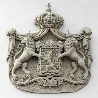 Wiesbaden City Palace - Coat of arms of the Dukes of Nassau over the Palace entrance