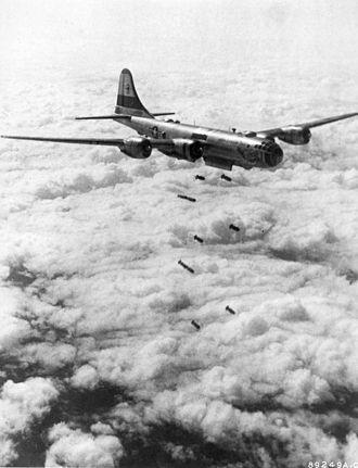 Air Battle of South Korea - A B-29 Superfortress during a Korean War bombing run. B-29s conducted the majority of air interdiction raids against North Korean supply lines.
