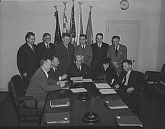 War Manpower Commission - Chairman Paul V. McNutt opens the first meeting of the War Manpower Commission, May 6, 1942.