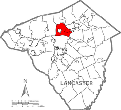 Map of Lancaster County highlighting Warwick Township