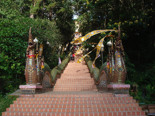 Stairs to Wat Phra That Doi Suthep - from Wikimedia Commons