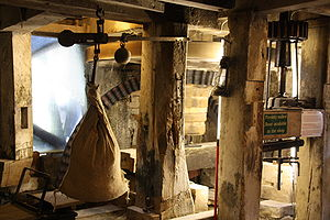 Factory - Interior of the Lyme Regis watermill, UK (14th century).