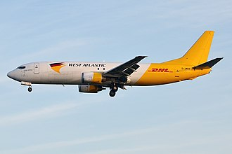 West Atlantic UK - West Atlantic Boeing 737-400F wearing a partial DHL livery
