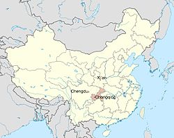 The locations of the three cities which form the Economic Zone. Chongqing province is shaded red.