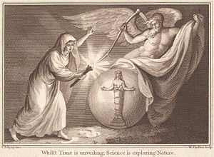 "Torah im Derech Eretz - ""Whilst time is unveiling, Science is exploring Nature"". 18th century engraving by William Skelton, symbolizing knowledge of the natural world."