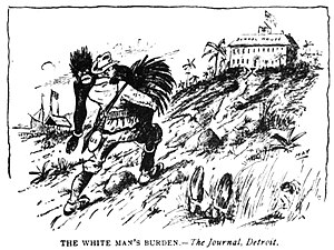 The White Man's Burden - The White Man's Burden: civilising the illiterate savage.  (Detroit Journal, 1898)