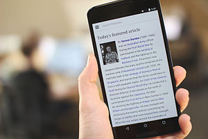 Wikipedia homepage on a large Android phone, 2015-04-16.jpg