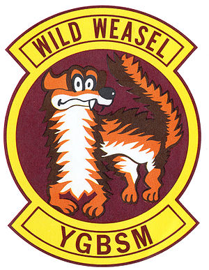 "Wild Weasel - Wild Weasel patch. The letters at the bottom stand for ""You gotta be shitting me."""