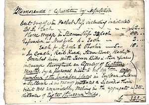 William Dawes (abolitionist) - A note in Wiliam Dawes' hand itemising expenses