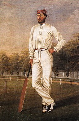Portrait of Wills in the colours of the MCC, William Handcock, 1870, National Sports Museum collection William Handcock Tom Wills.jpg