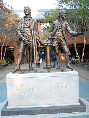 William & Mary Law School - Statue of Marshall and Wythe at the entrance of the Law School
