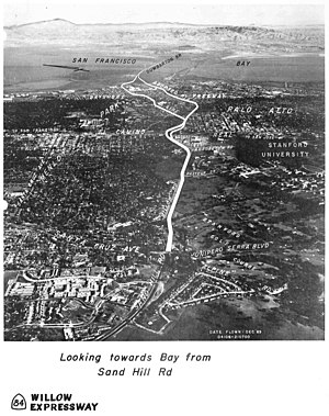 "Sand Hill Road - Photograph of Sand Hill Road in 1971, in the non-approved ""Willow Expressway"" proposal, which would have extended Sand Hill to connect Interstate 280 to the Dumbarton Bridge"