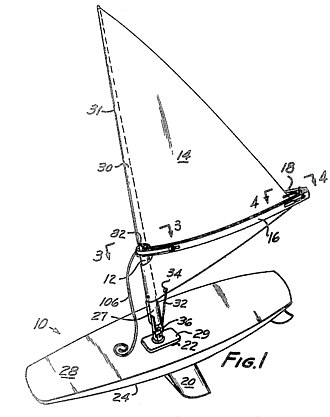 Windsurfing - Illustration from US Patent 3,487,800, filed by inventors Jim Drake and Hoyle Schweitzer on March 27, 1968