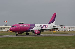 Coventry Airport - A Wizz Air Airbus A320 starting the take off (2007)