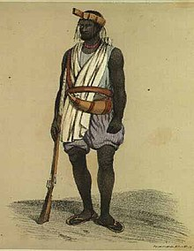 An image illustration of a Wolof soldier in the 19th century