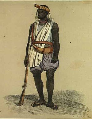 "History of Senegal - Wolof of Waalo, in ""war costume"" (1846)"