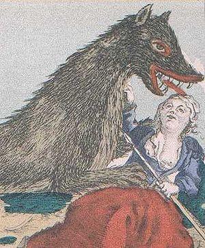 Beast of Gévaudan - An 18th-century print showing a woman defending herself from the Beast of Gévaudan.