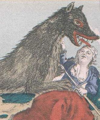 Beast of Gévaudan - An 18th-century print showing Marie Jeanne Valet (also known as The Maid of Gévaudan) defending herself from the Beast.