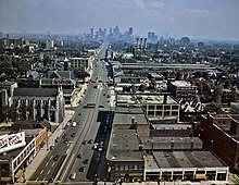 Looking south down Woodward Avenue, with the Detroit skyline in the distance, July 1942