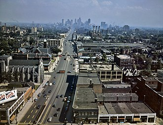 Detroit - Looking south down Woodward Avenue, with the Detroit skyline in the distance, July 1942