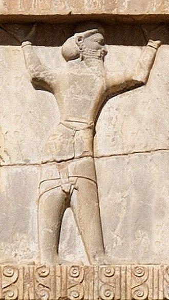 Bactria - Xerxes I tomb, Bactrian soldier circa 470 BC.
