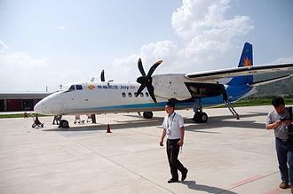 Joy Air - Image: Xian MA 60 at Tianshui Maijishan Airport