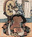 Yashima Gakutei - A woman playing a large suspended drum (tsuridaiko) A set of five prints for the Hisakataya poetry c... - Google Art Project.jpg