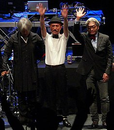 YMO after playing a 2008 concert in London. From left to right: Ryuichi Sakamoto, Yukihiro Takahashi, Haruomi Hosono