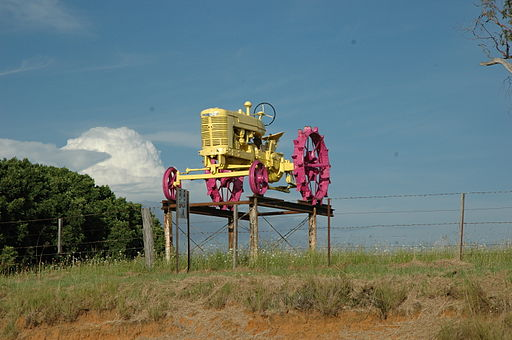Yellow and pink painted tractor in Australia