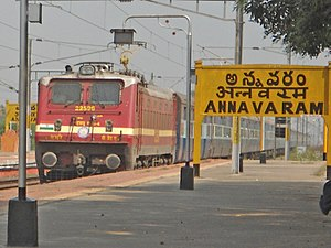 Yesvantpur bound Express from Tatanagar enters Annavaram with a WAP4 Locomotive.jpg
