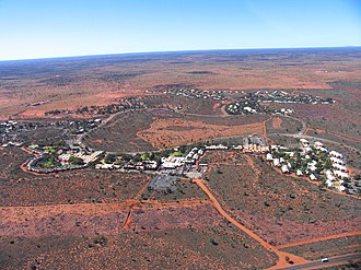 Yulara, Northern Territory - Yulara from helicopter in August 2004
