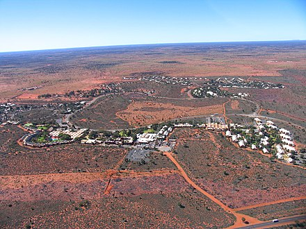 Aerial view of Yulara Yulara from helicopter (August 2004).jpg