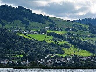 Freienbach - Freienbach and Etzel (mountain) in the background