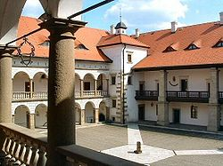 Inner courtyard of the Niepołomice Castle built by Casimir III the Great