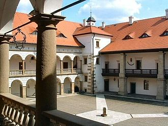 Niepołomice - Inner courtyard of the Niepołomice Castle built by Casimir III the Great