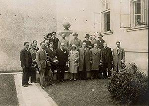 Desanka Maksimović - Maksimović (front row, centre) at a meeting of Yugoslav writers in 1929