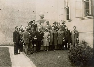Desanka Maksimović - Maksimović (front row, centre) at a meeting of Yugoslav writers in 1929