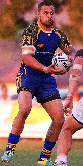 Niue national rugby league team - Captain Mike Filimona playing for Niue against the Philippines in 2014