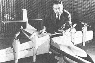 Charles H. Zimmerman - Zimmerman with a wind tunnel model