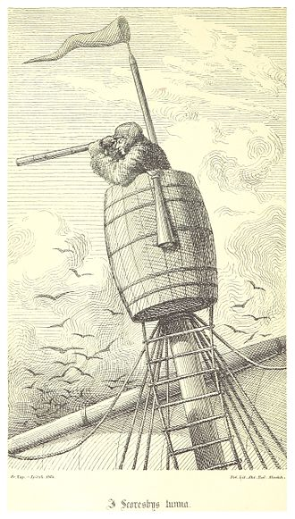 Crow's nest - 1867 illustration of a crow's nest on a traditional ship