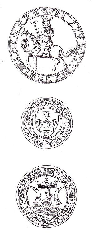 Altstadt (Königsberg) - Oldest remaining seals of (from top) Altstadt (1360), Löbenicht (1413), and Kneiphof (1383). The original seal of Altstadt depicted King Ottokar II of Bohemia.